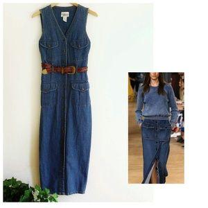 Vintage Button Down Denim Midi Dress